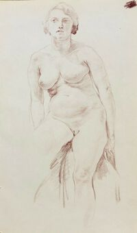 Antique William Greengrass (1896-1970), Study of a Female Nude, Pastel