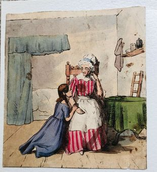 Antique Busby's Caricature Ca. 1820s.  Affection