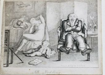 Antique Busby's Caricature Ca. 1820s.  All Nodding