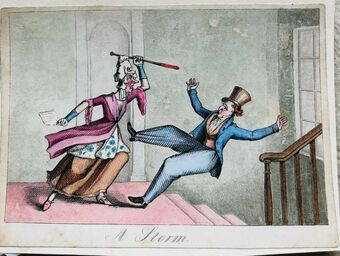 Antique Busby's Caricature Ca. 1820s.  A Storm