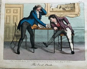 Antique Busby's Caricature Ca. 1820s.  The last Push