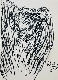 Antique Michael Werner (1912-1989), Pen & Ink, Bird