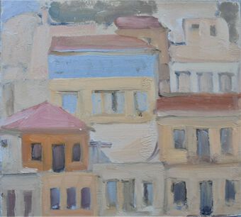 Antique Pastel coloured building in Symi
