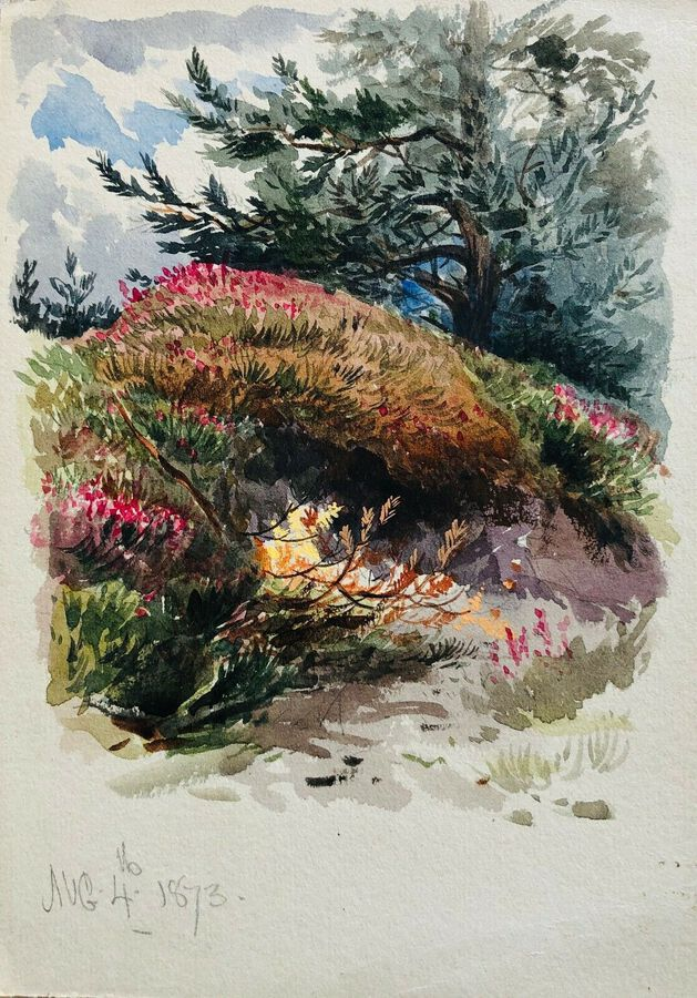 Watercolour 1873.  Study of Garden