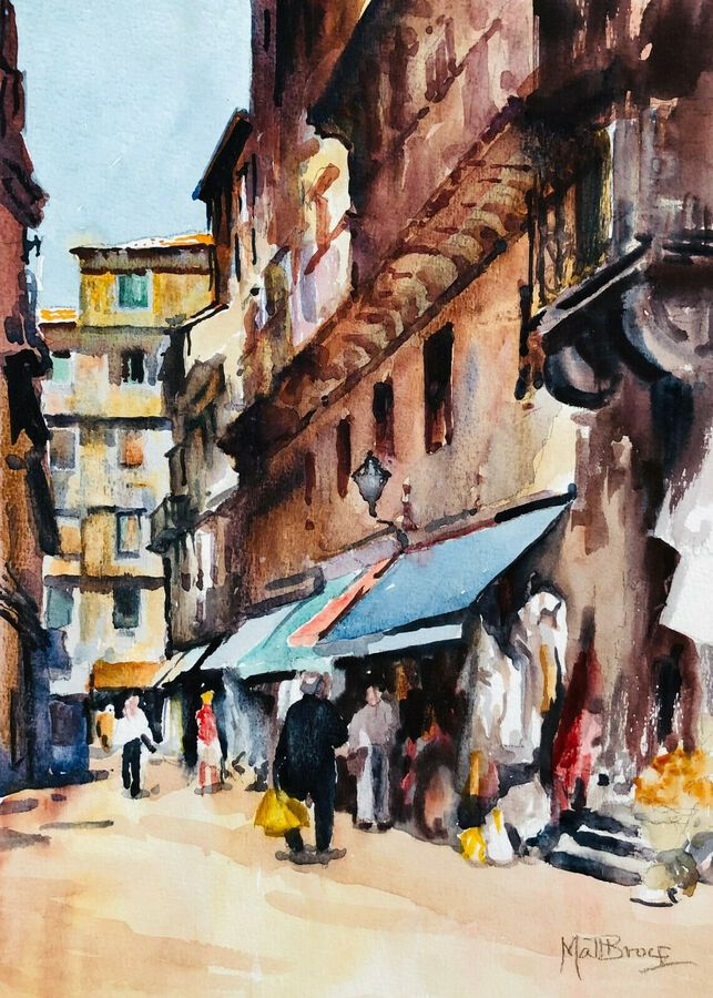 "Matt Bruce (1915-2000),  ""Street View"", Watercolour"