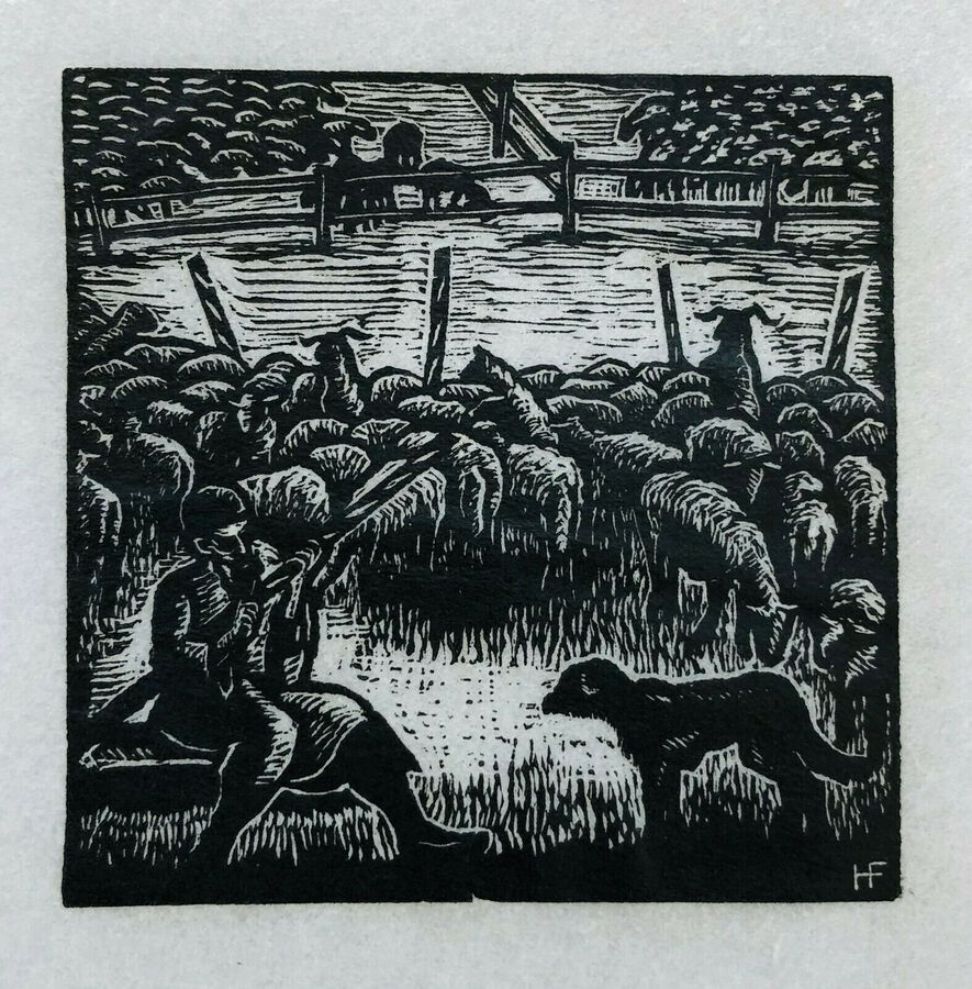 Hermann Fechenbach. Original Wood Engraving, Jacob Tricks Laban