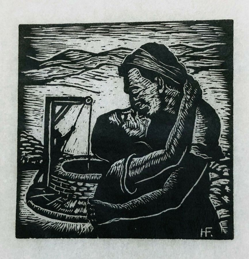 Hermann Fechenbach. Original Wood Engraving, Jacob Works to Win Rachel