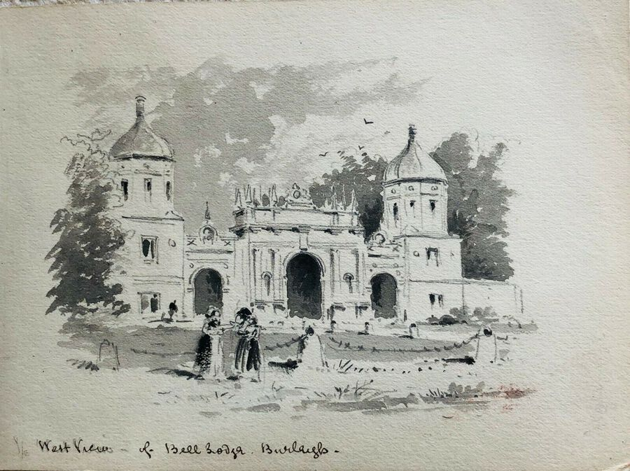 Watercolour 19c.  West View of Bell Lodge - Burleigh