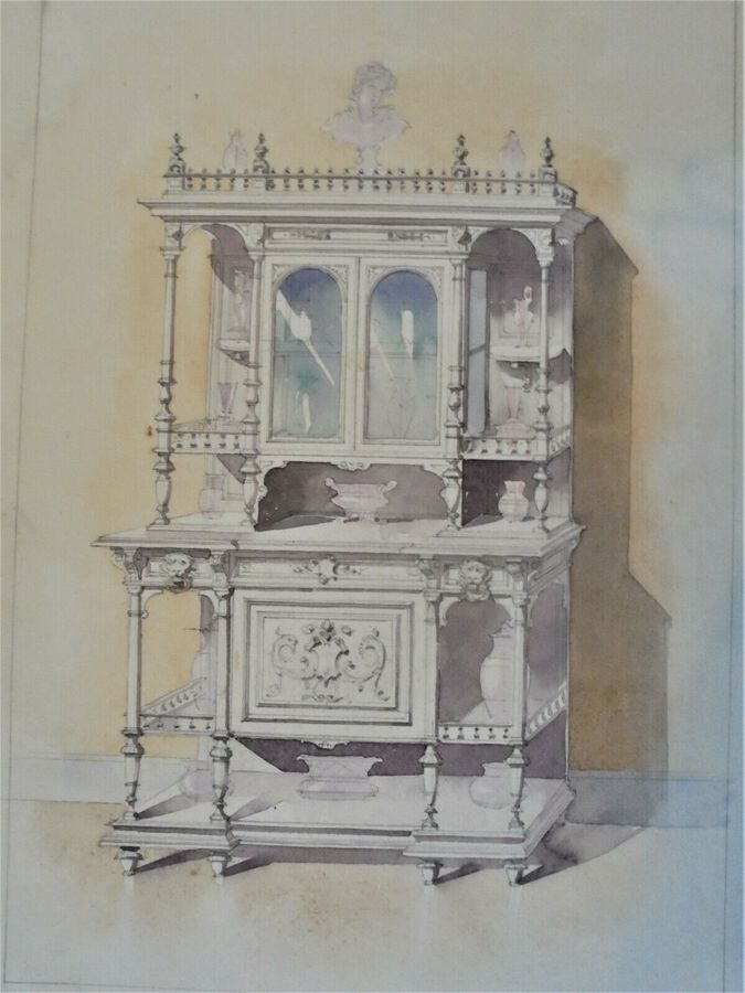 Study of furniture, Watercolour
