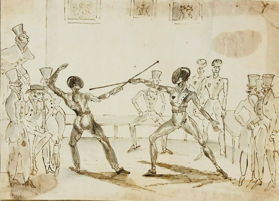 "Artist:  Unknown to Seller, ""The Duel"", ca.1900, Pen, Ink and Wash"