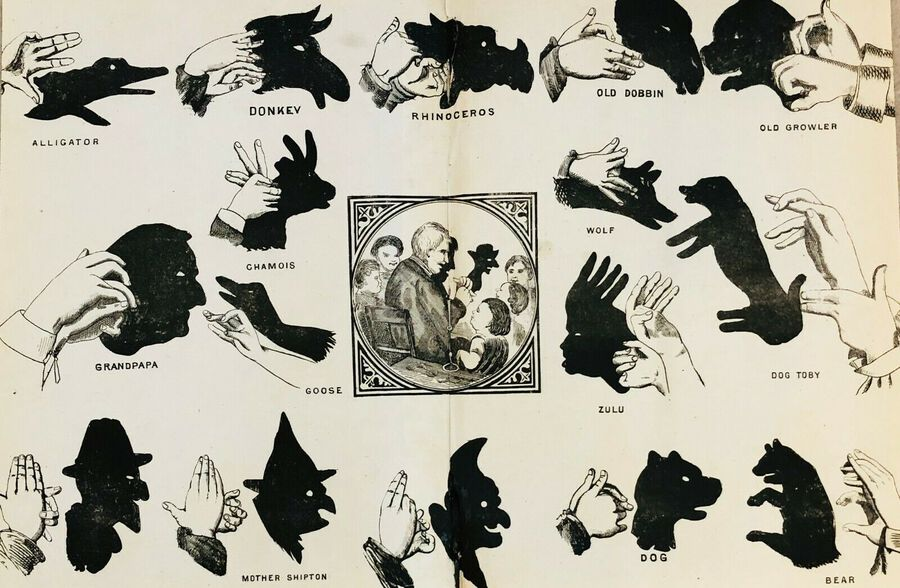 "Artist:  Unknown to Seller, ""Hand shadows"", Lithograph, ca.1900"