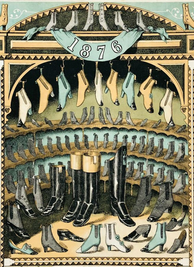 "Artist:  Unknown to Seller, ""Shoes and Boots"", Chromolithograph, 1876"