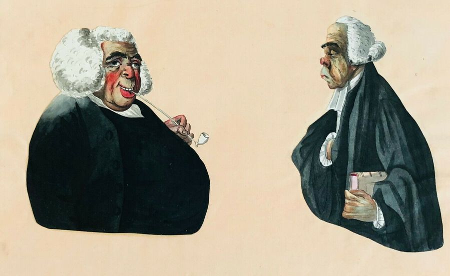 Artist:  Unknown to Seller, Caricature ca. 1800, Humorous Cutout