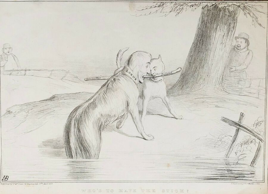 "Henry Bunbury (1750-1811), ""Who's to Have the Stick?"", Lithograph, 1839"