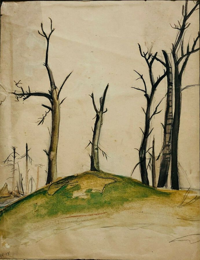 "Artist:  Unknown to Seller, ""Study of Trees"", Watercolour"