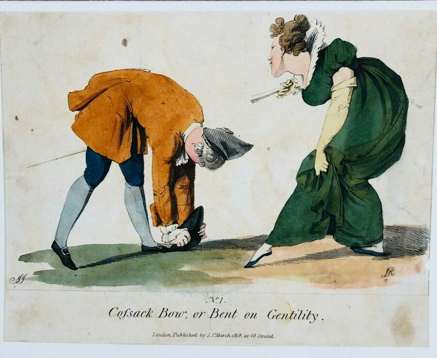 JJ, Caricatures, Ca. 1800, Bent on Gentility, Pubd. March 1819