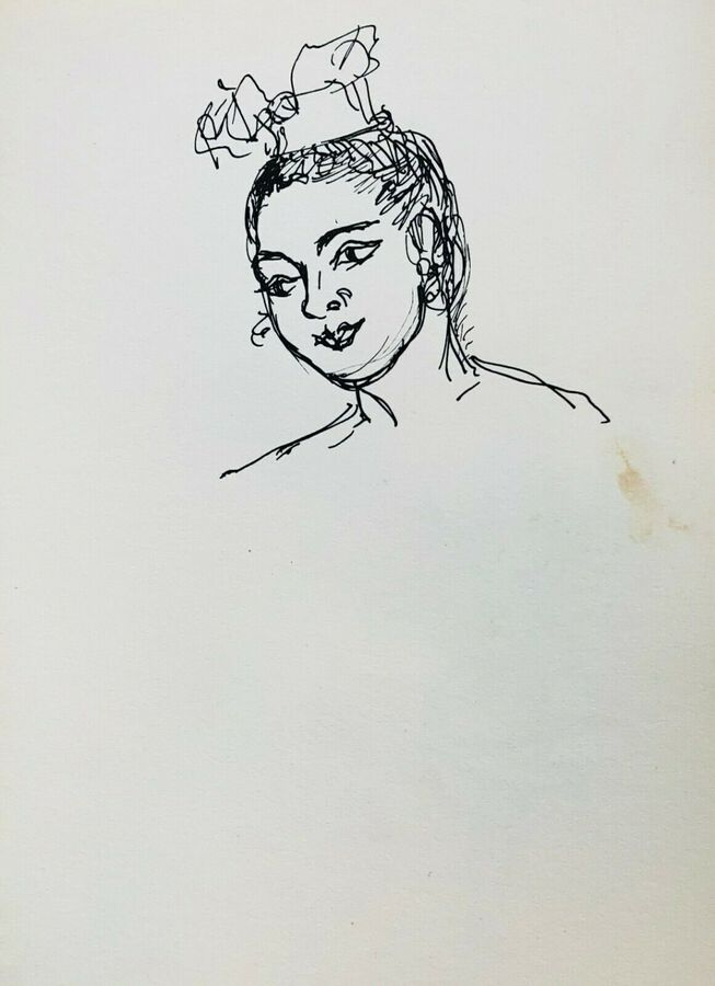 A Thai Dancer - Head Study, Ca.1940, Pen & Ink