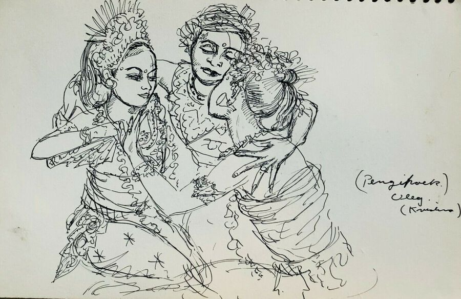 Thai Dancers, Ca.1940, Pen & Ink, Verso & Recto