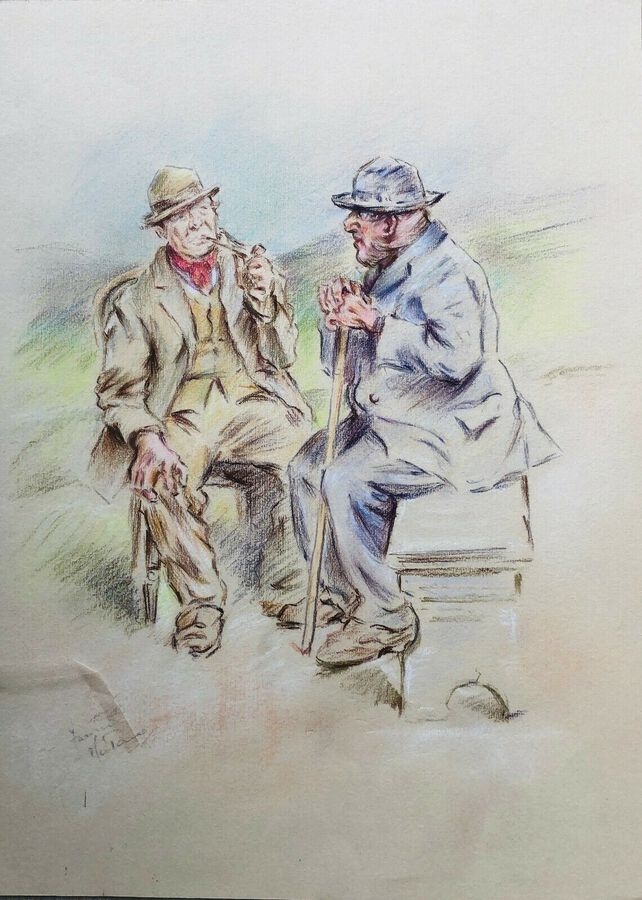 Franco Matania (1881-1963) Pastel, Two Veterans