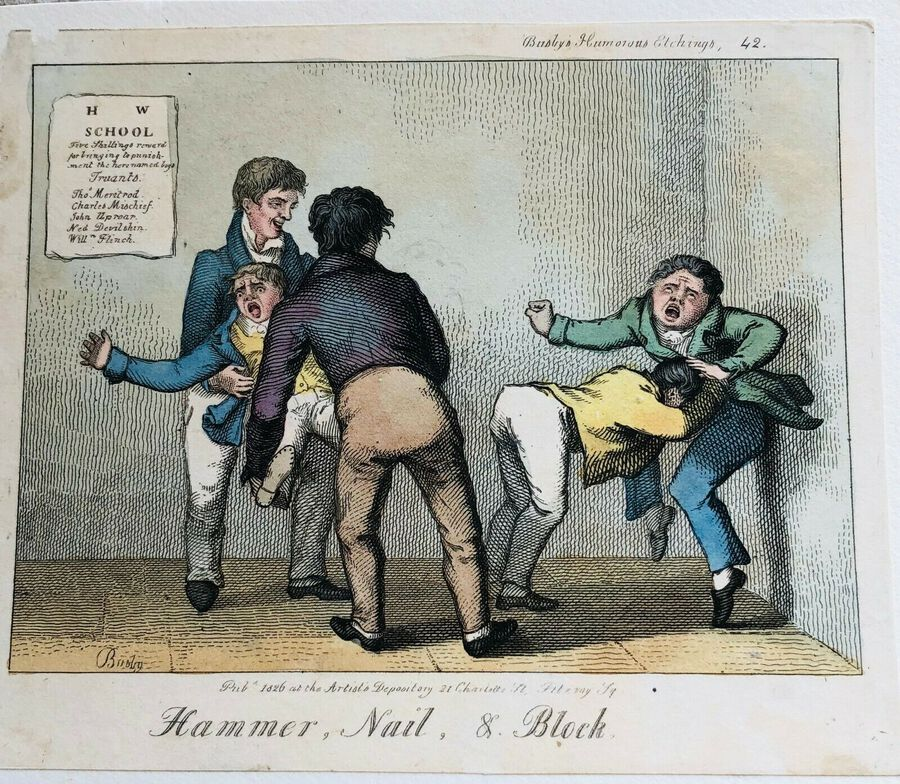 Busby's Caricature Ca. 1820s. Hammer, Nail, & Block