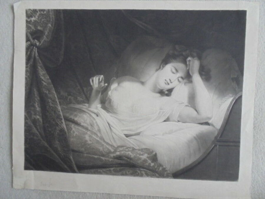 S. W. Reynolds after Claude-Marie M. Dubufe (1790-1864). Sleeping. Mezzotint