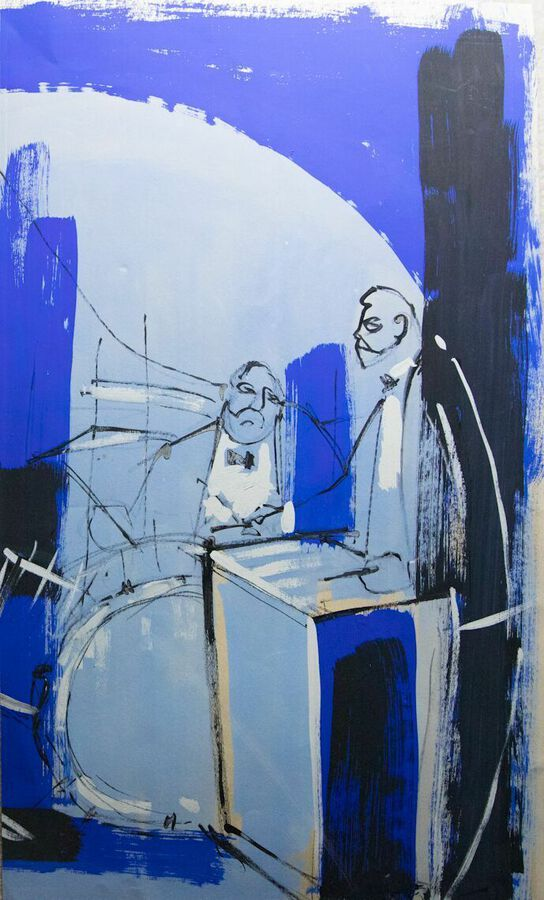 John Hinton. Jazz. Original Drawing. Gouache & Mixed Media.
