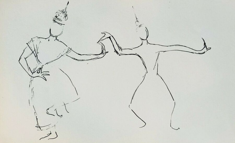 Thai Dancers, Ca.1940, Pen & Ink