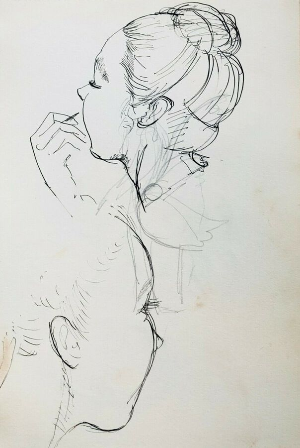 Thai Dancers - Head & Lip Study, Ca.1940, Pen & Ink, Verso & Recto
