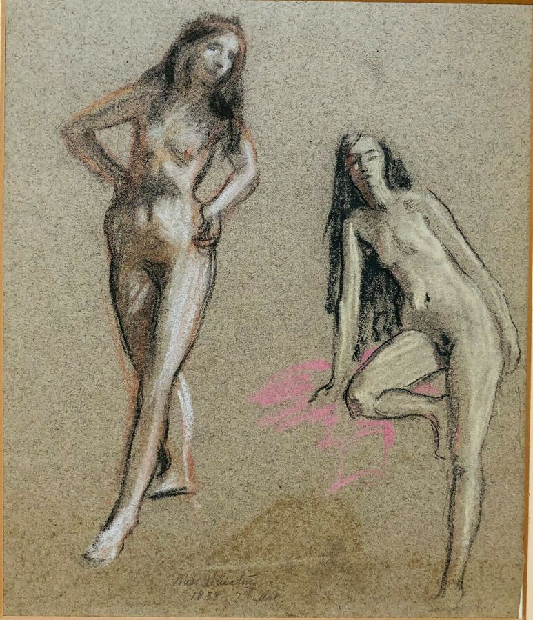 Bryson Burroughs (1869-1934), Pastel, Study of a Female Nude