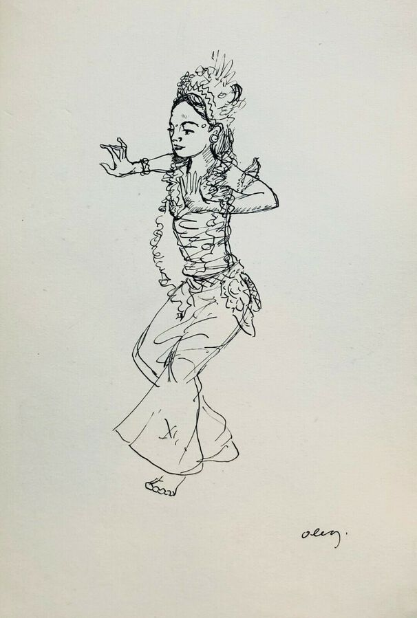 Antique Thai Dancers, Ca.1940, Pen & Ink, Verso & Recto