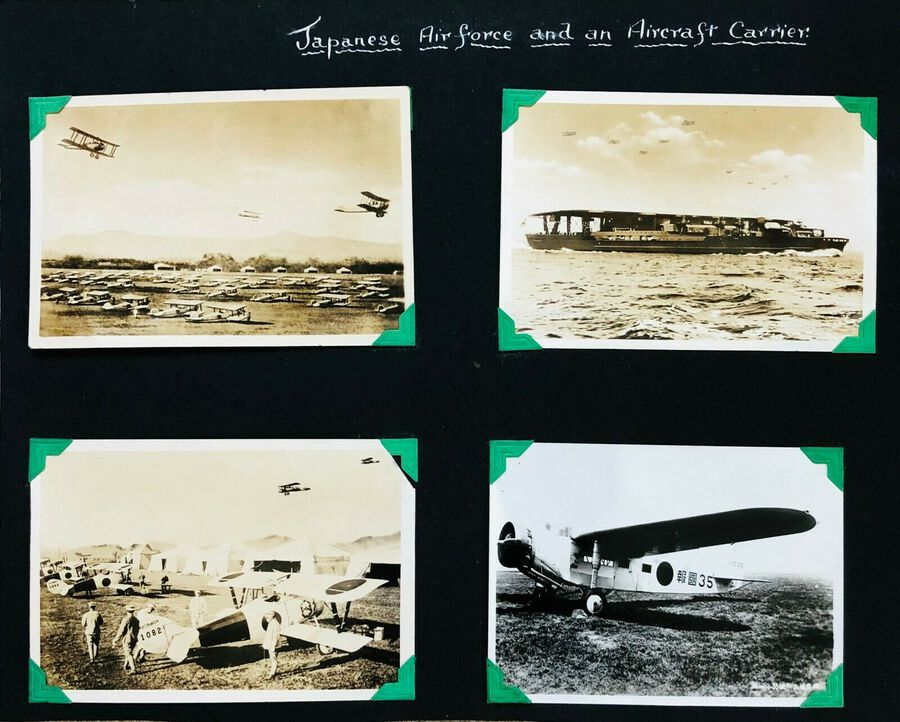 View of Japanese Airforce and an Aircraft Carrier, 4 Photographs, c.1930s