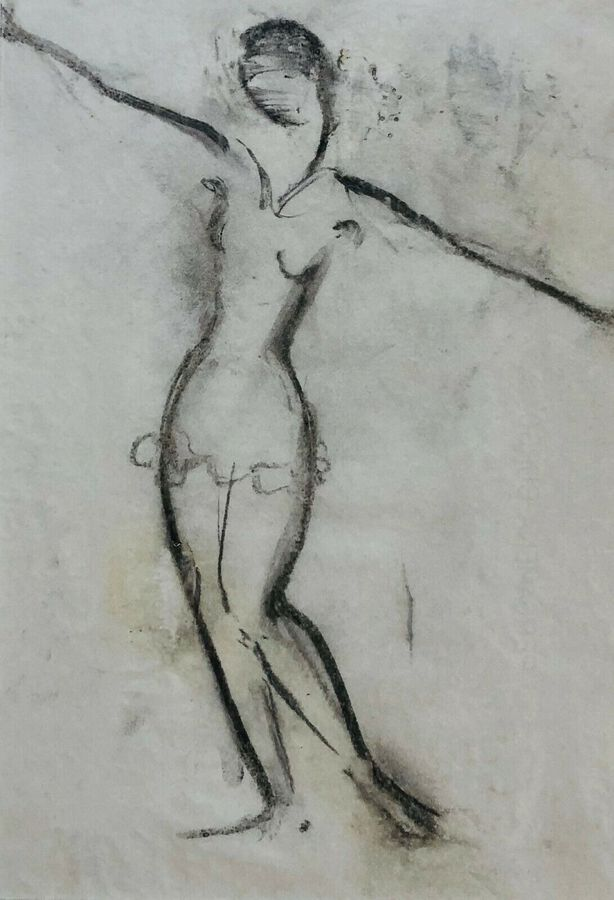 Czobelova, Wally (-1955), Study of a Female Ballerina, Charcoal