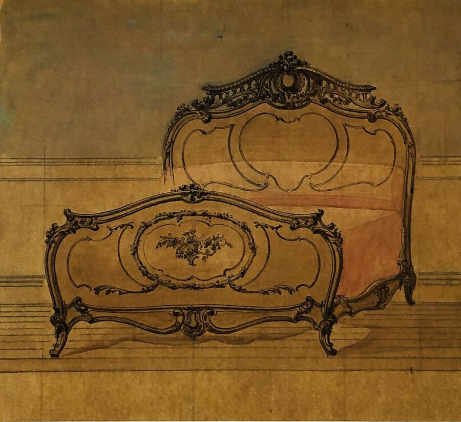 Design for or after A Bed, Ca.1800, Pastel