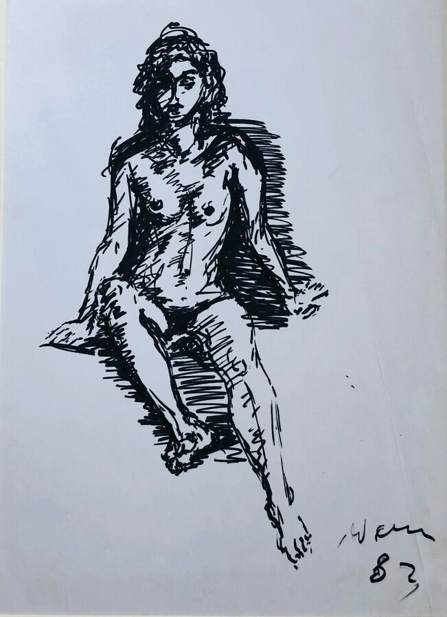 Michael Werner (1912-1989), Pen & Ink, The Study of a Female Nude