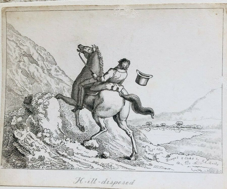 Antique Busby's Caricature Ca. 1820s. H.ill.disposed