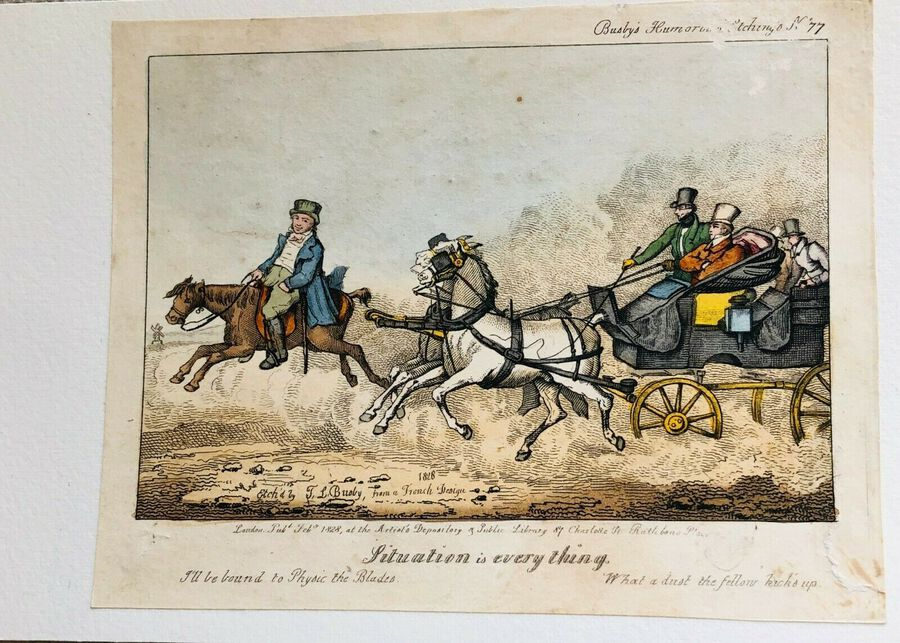 Antique Busby's Caricature Ca. 1820s.  Situation is Every Thing