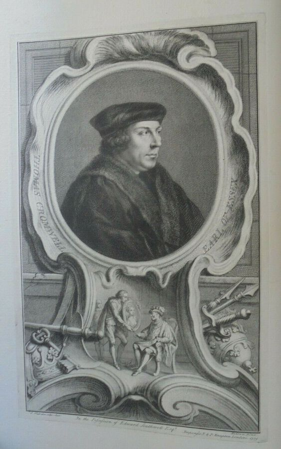 Antique Thomas Cromwell, Earl of Essex - J. Houbraken ( 1698 – 1780), after Holbein