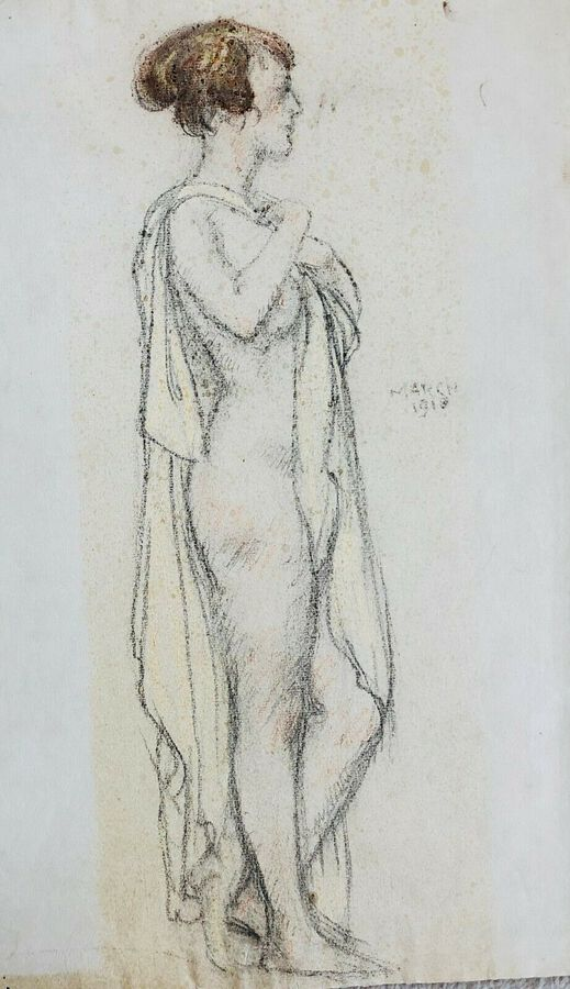 Antique Bryson Burroughs (1869-1934), Pastel, Study of a Female Nude